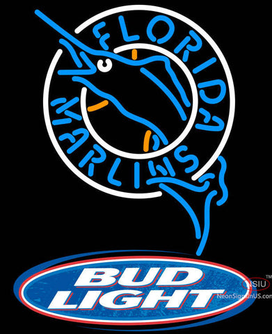 Bud Light Logo Florida Marlins MLB Neon Sign
