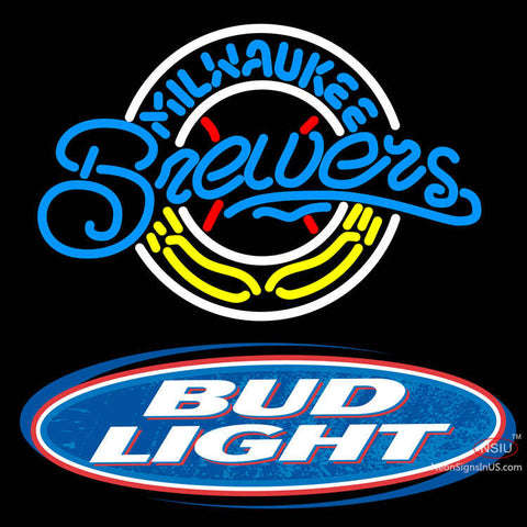 Bud Light Logo Milwaukee Brewers MLB Neon Sign