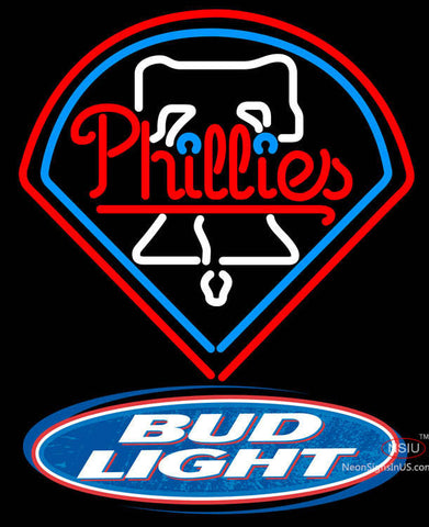 Bud Light Logo Philadelphia Phillies MLB Neon Sign