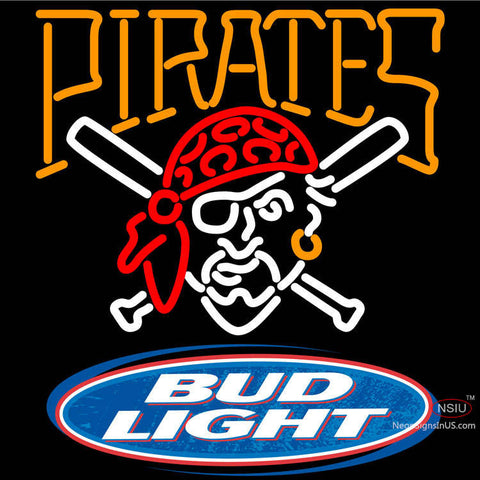 Bud Light Logo Pittsburgh Pirates MLB Neon Sign