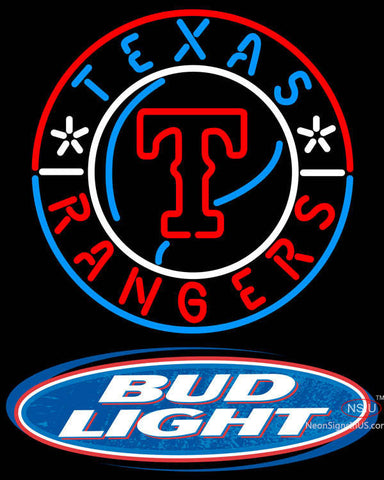 Bud Light Logo Texas Rangers MLB Neon Signs