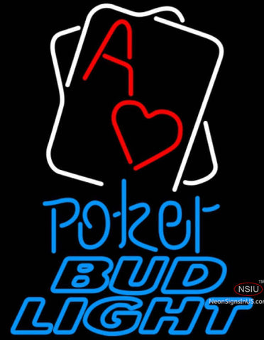 Bud Light Neon Rectangular Black Hear Ace Poker Neon Sign 7
