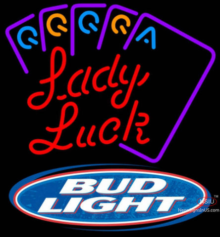 Bud Light Poker Lady Luck Series Neon Sign 7