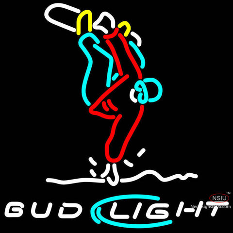 Bud Light Snow Skier Frontside  Neon Beer Sign & Light