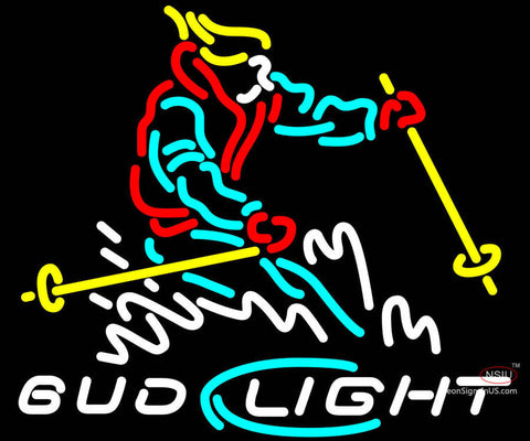 Bud Light Snow Skier Neon Beer Sign