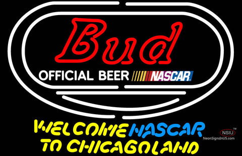 Bud Welcome NASCAR To Chicago land Neon Sign