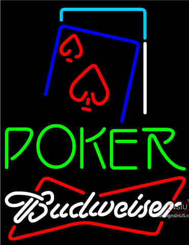 Budweiser Green Poker Red Heart Neon Sign