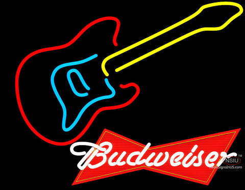 Budweiser Logo Guitar Neon Sign