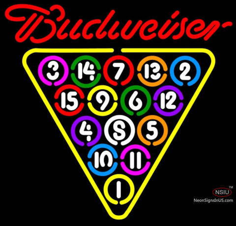 Budweiser Neon Ball Billiards Pool Neon Sign