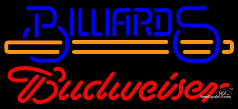Budweiser Neon Billiards Text With Stick Pool Neon Sign