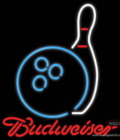 Budweiser Neon Bowling Neon Blue White Neon Sign