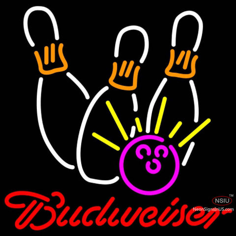 Budweiser Neon Bowling Neon White Pink Neon Sign x