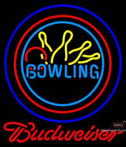 Budweiser Neon Bowling Neon Yellow Blue Sign