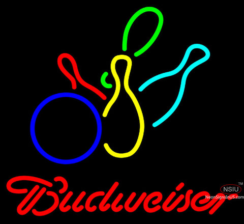 Budweiser Neon Colored Bowling Neon Sign   x