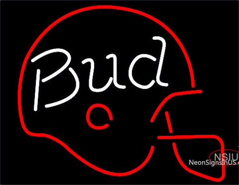 Budweiser Bud Football Helmet Neon Beer Sign