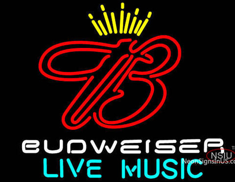 Budweiser Live Music  Neon Beer Sign