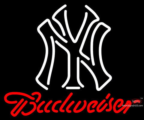 Budweiser New York Yankees White MLB Neon Sign   x