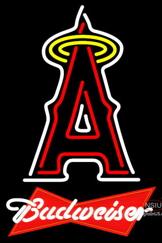Budweiser Red Anaheim Angels MLB Neon Sign