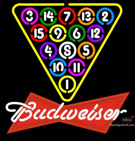 Budweiser Red Ball Billiards Pool Neon Sign