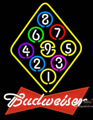 Budweiser Red Ball Billiards Rack Pool Neon Sign