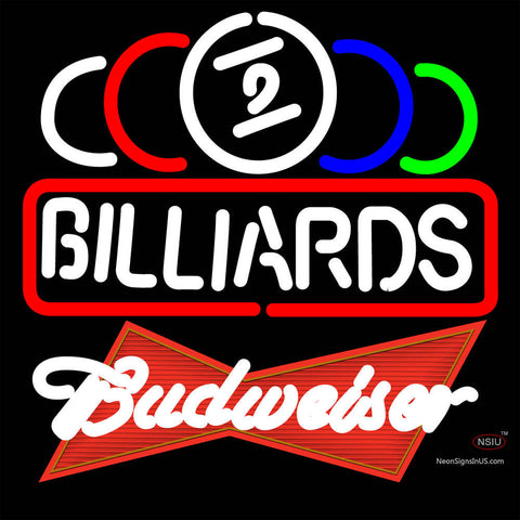 Budweiser Red Ball Billiards Text Pool Neon Sign   x