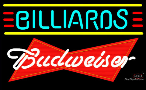 Budweiser Red Billiards Text Borders Pool Neon Sign