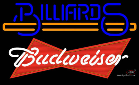 Budweiser Red Billiards Text With Stick Pool Neon Sign