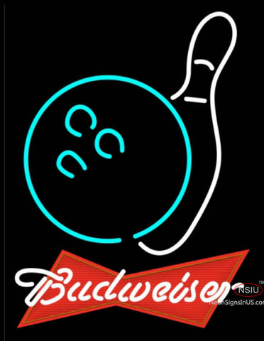 Budweiser Red Bowling Neon White Sign