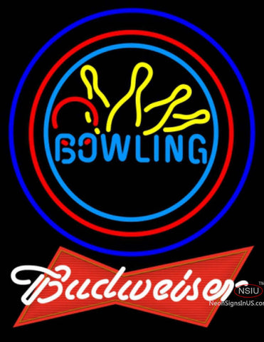 Budweiser Red Bowling Neon Yellow Blue Sign