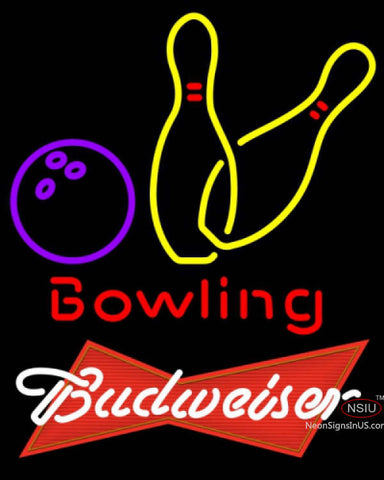 Budweiser Red Bowling Neon Yellow Sign