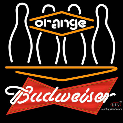 Budweiser Red Bowling Orange Neon Sign
