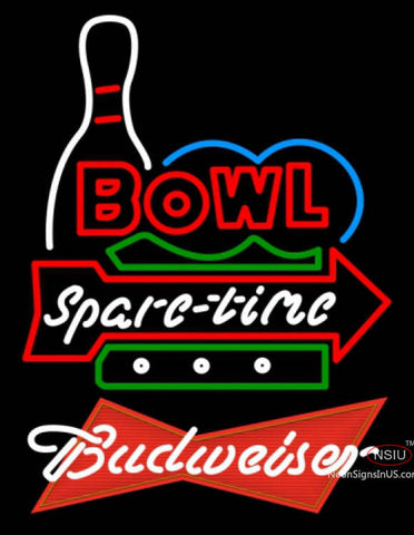 Budweiser Red Bowling Spare Time Neon Sign