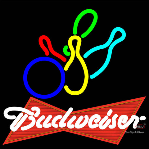 Budweiser Red Colored Bowling Neon Sign   x