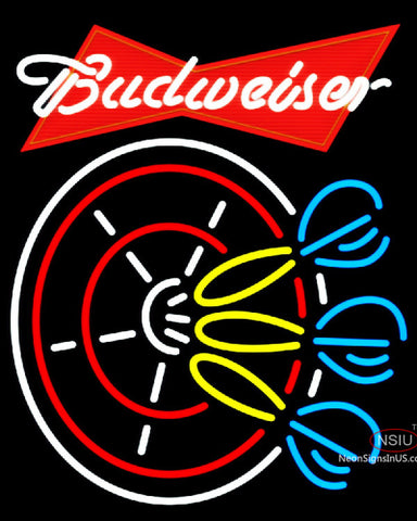 Budweiser Red Darts Pin Neon Sign