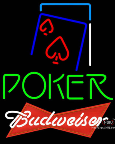 Budweiser Red Green Poker Red Heart Neon Sign 7