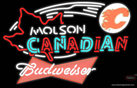 Budweiser Red Molson Flames Hockey Neon Sign