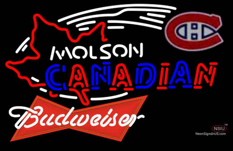 Budweiser Red Molson Montreal Canadians Hockey Neon Sign