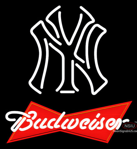 Budweiser Red New York Yankees White MLB Neon Sign   x