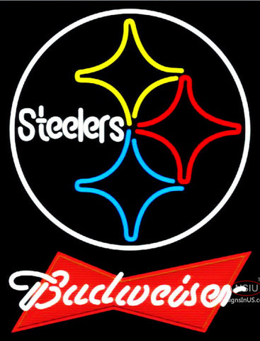 Budweiser Red Pittsburgh Steelers NFL Neon Sign