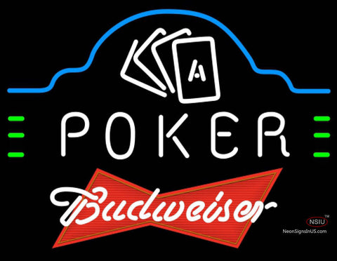 Budweiser Red Poker Ace Cards Neon Sign 7 7