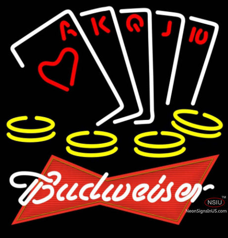 Budweiser Red Poker Ace Series Neon Sign 7  x