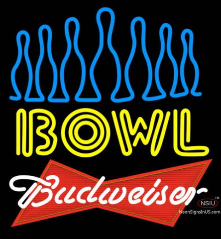 Budweiser Red Ten Pin Bowling Neon Sign