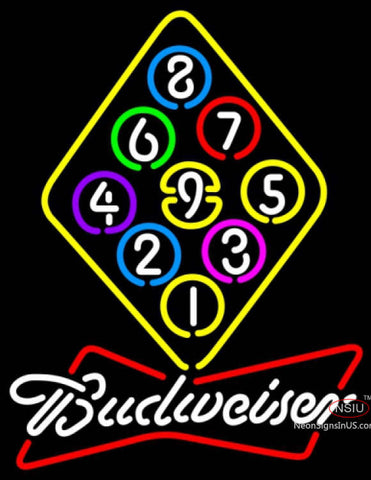 Budweiser White Ball Billiards Rack Pool Neon Sign