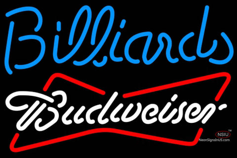 Budweiser White Billiards Text Pool Neon Sign