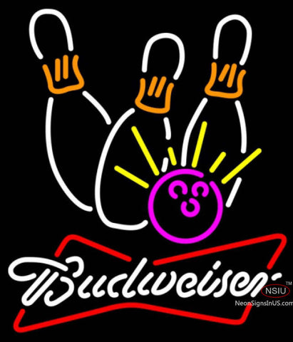 Budweiser White Bowling Neon White Pink Neon Sign