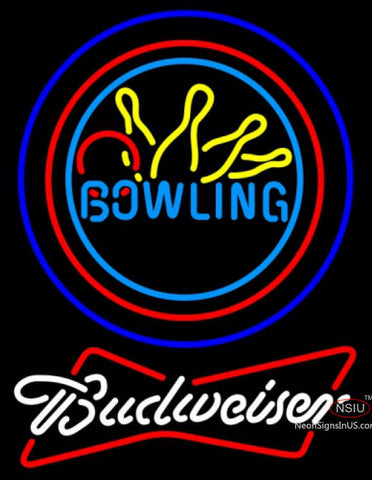 Budweiser White Bowling Neon Yellow Blue Sign