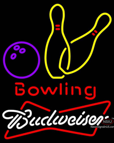 Budweiser White Bowling Neon Yellow Sign  7