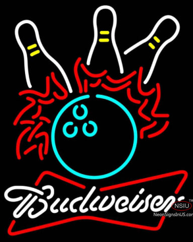 Budweiser White Bowling Pool Neon Sign