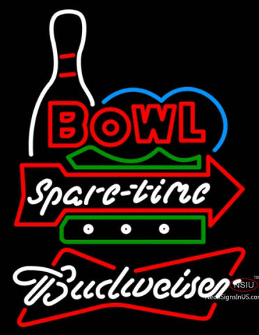 Budweiser White Bowling Spare Time Neon Sign