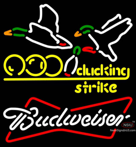 Budweiser White Bowling Sucking Strike Neon Sign